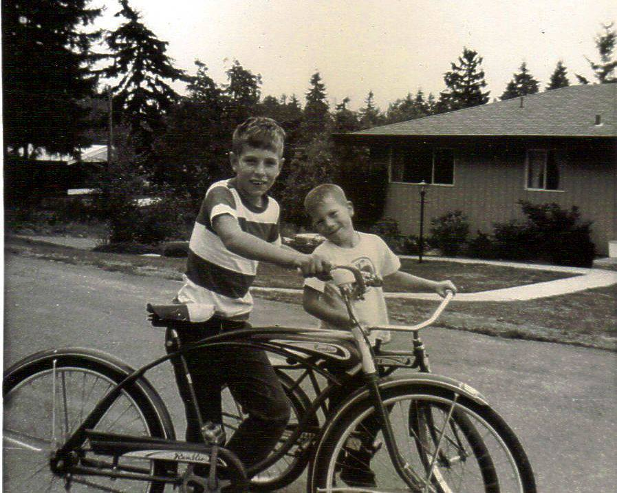 Riding the red balloon tire bike in 1965