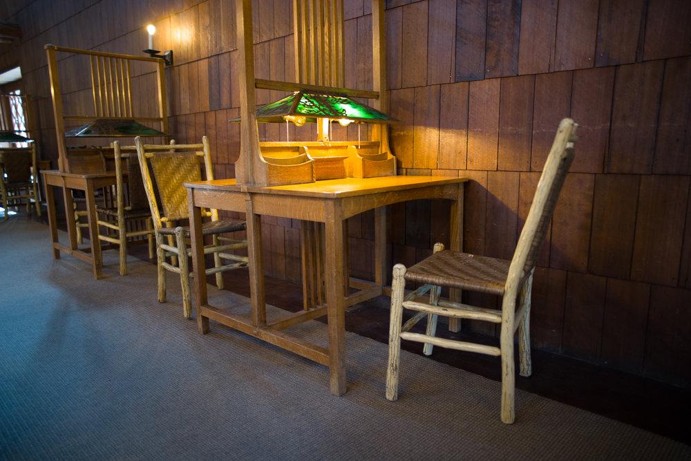 One of the many writing desks inside the Old Faithful Inn