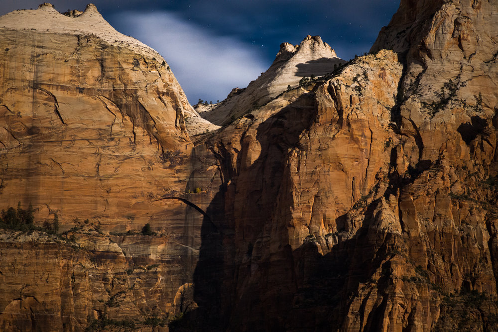 Zion Cliffs in Moonlight