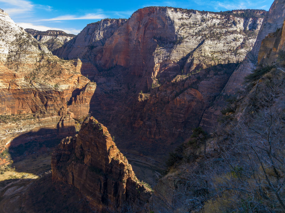 Virgin River bending around Big Bend on the valley floor at Zion. This is a downscale of the full 81 MP image.