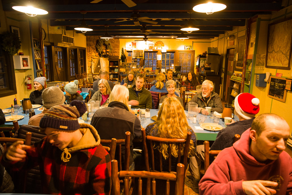 "Meet interesting people at mealtime, served ""family style"" at Phantom Ranch"