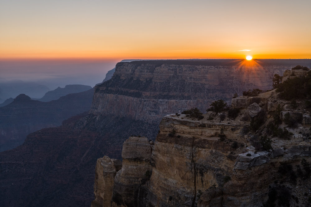 The morning sun on the rim