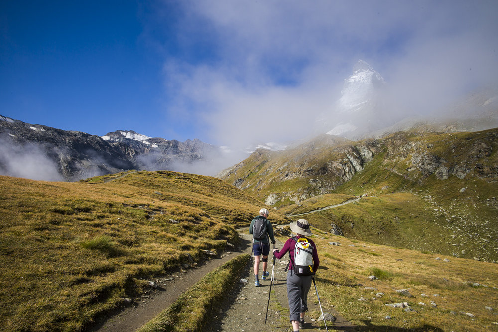 Hiking to the Matterhorn base camp Hörnlihütte