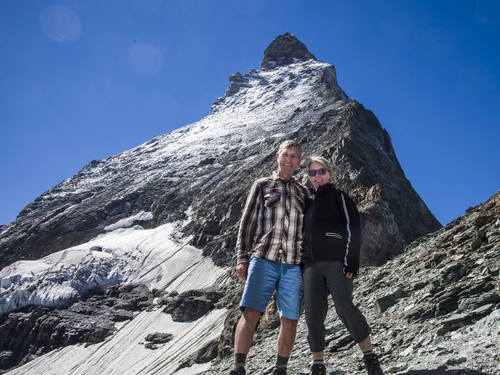 Rick and Cheryl at the base camp of the Matterhorn