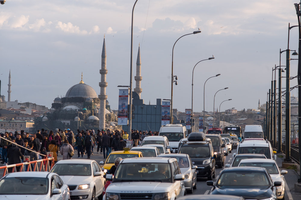 Istanbul traffic with 20 million people is overwhelming. Use public transportation.
