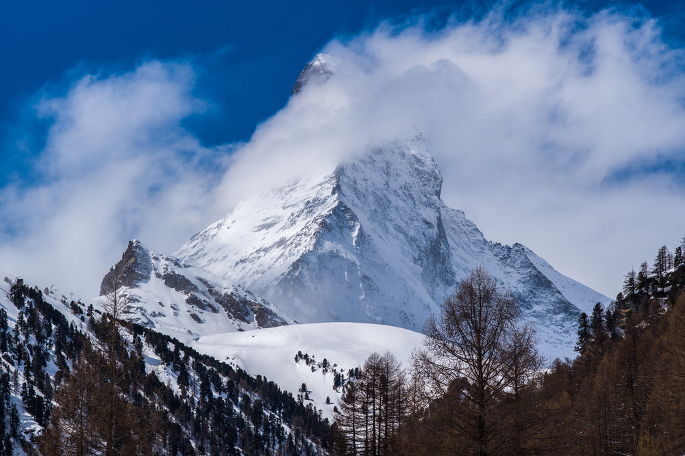 The Matterhorn with a cloud seen from Zermatt