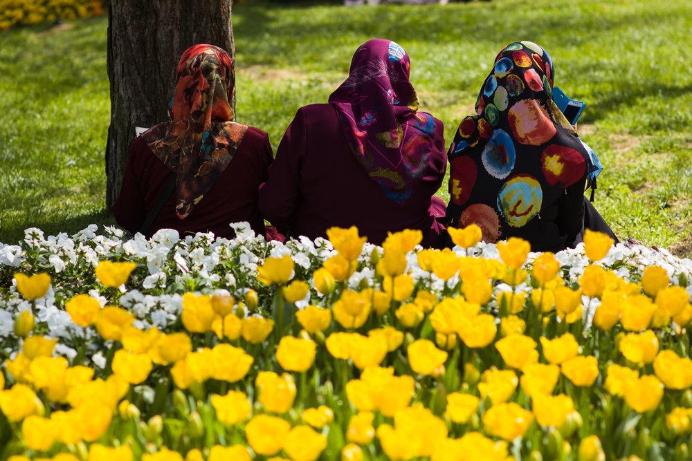 Women enjoying the gardens on top of Camlica Hill