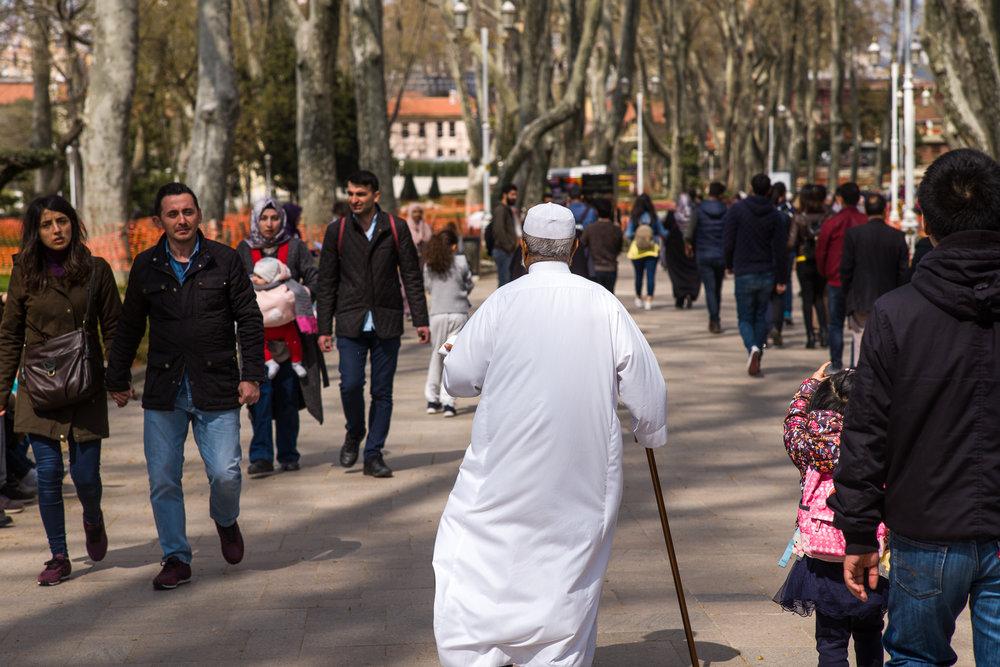 Man walking through the Sultan's Garden