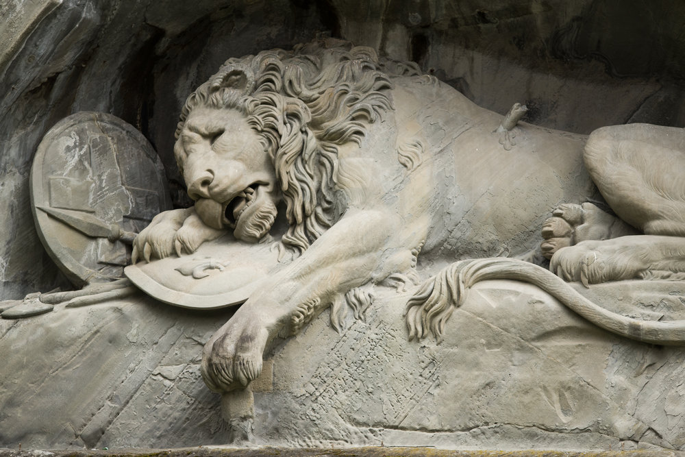 """Lion of Lucerne the most mournful and moving piece of stone in the world"" - Mark Twain"