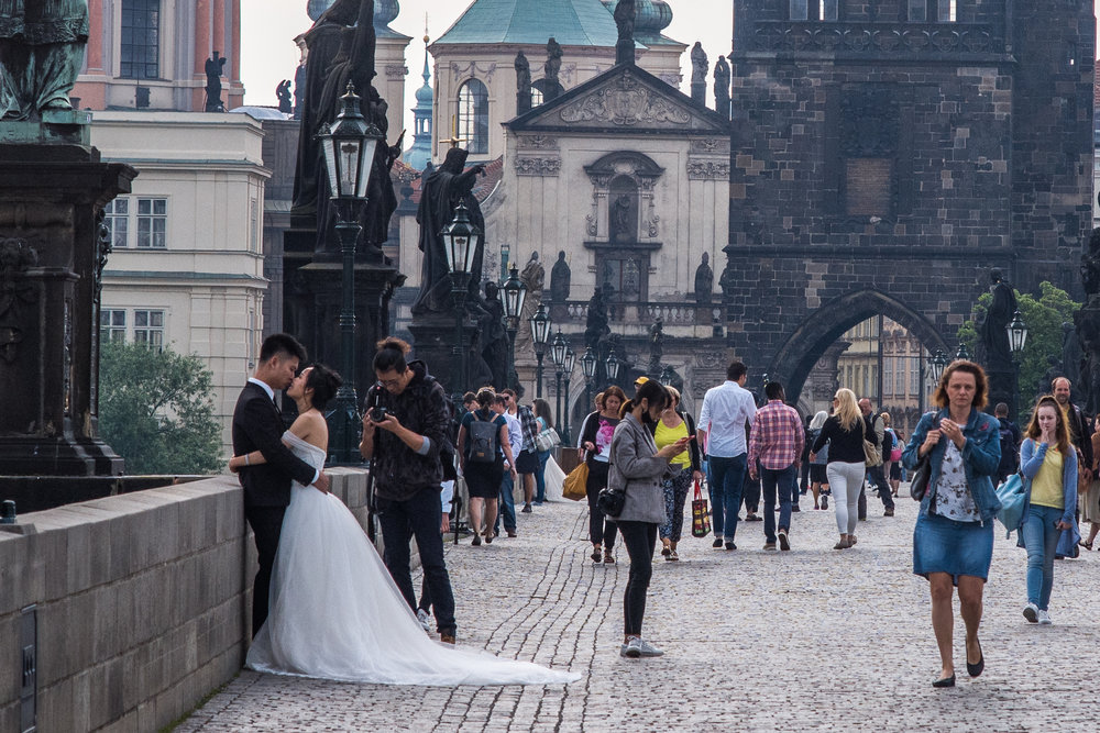 Wedding photos on the Charles Bridge is a common sight in the morning light