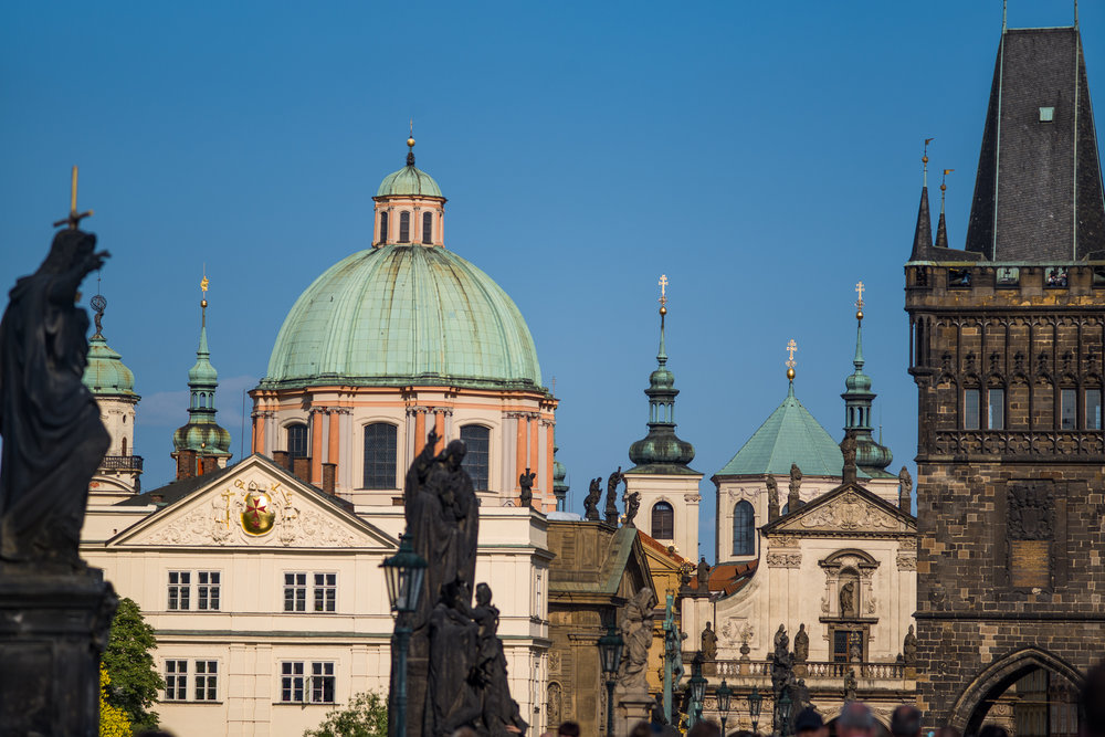 Statues and towers from the Charles Bridge in Prague