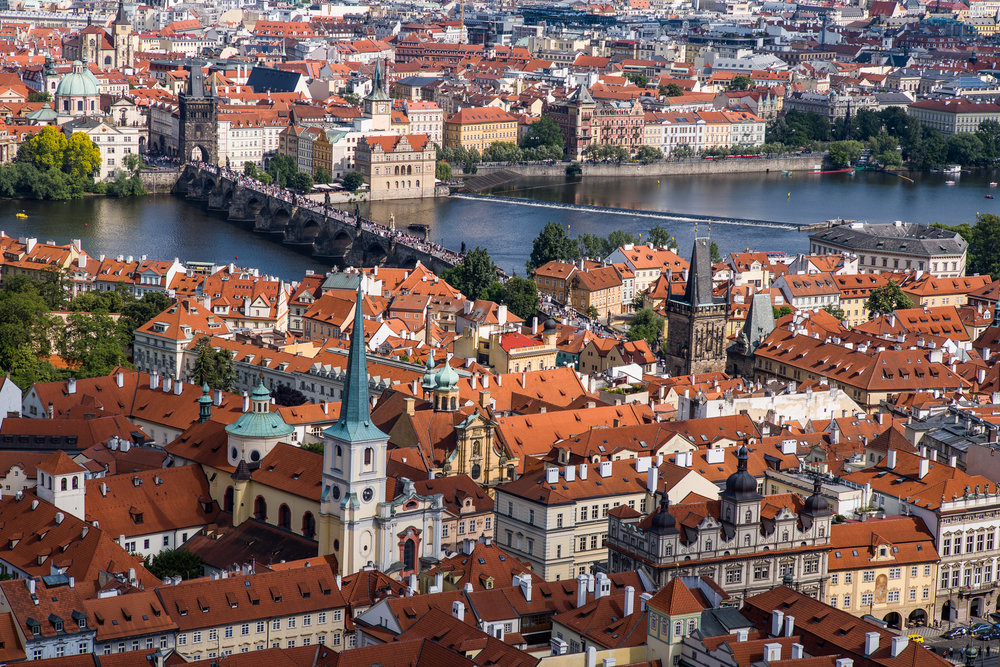 Charles Bridge and the skyline of Prague from the St. Vitus Cathedral tower