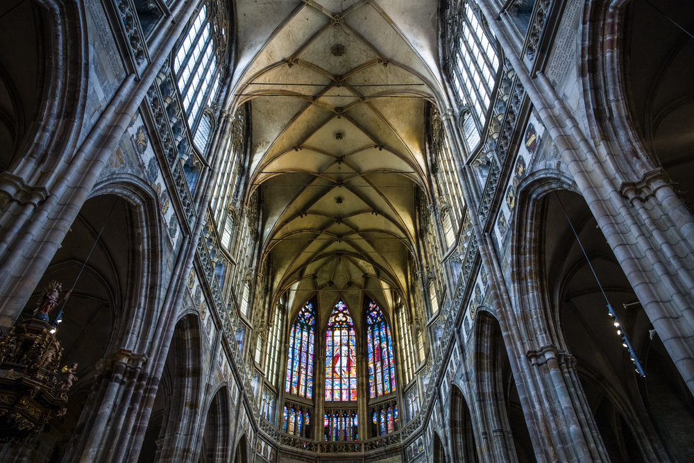 Looking up inside St. Vitus Cathedral