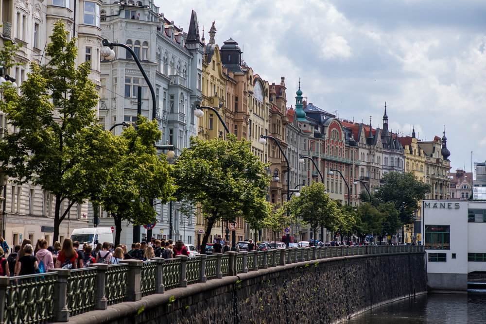 Buildings and people next to the Vltava River