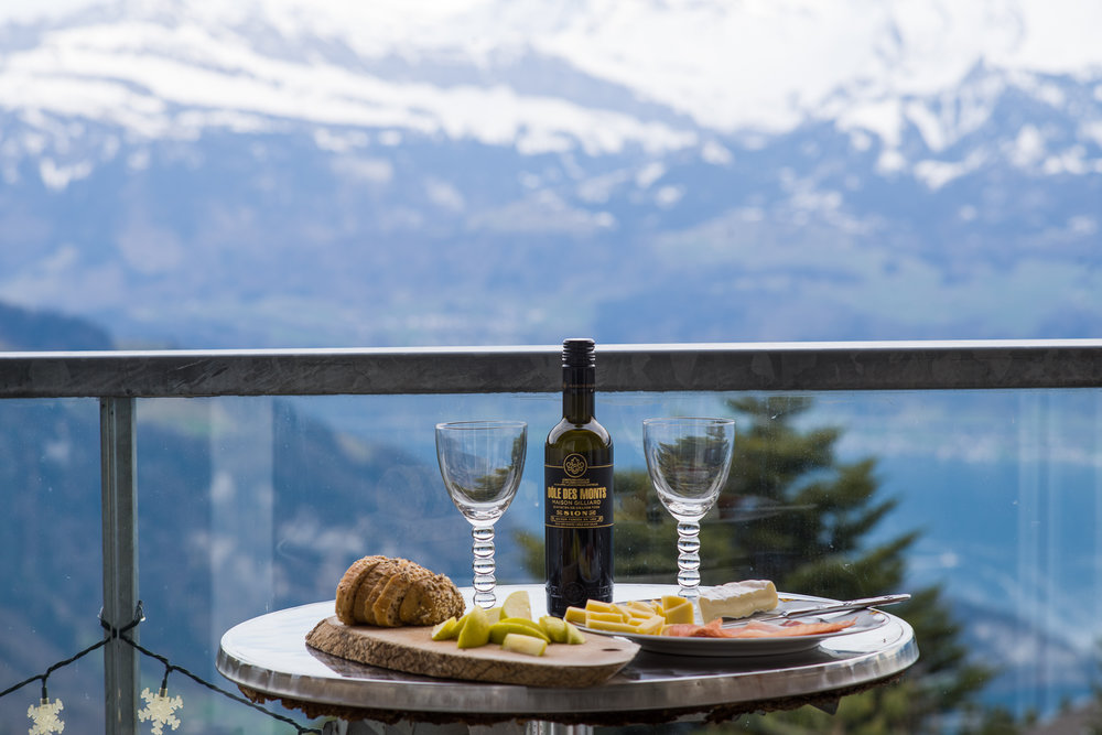 Enjoy wine, cheese and the view from the Rigi