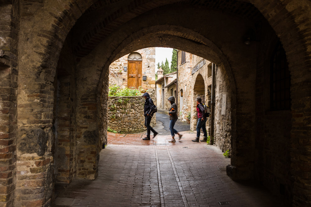 Walking through San Gimignano