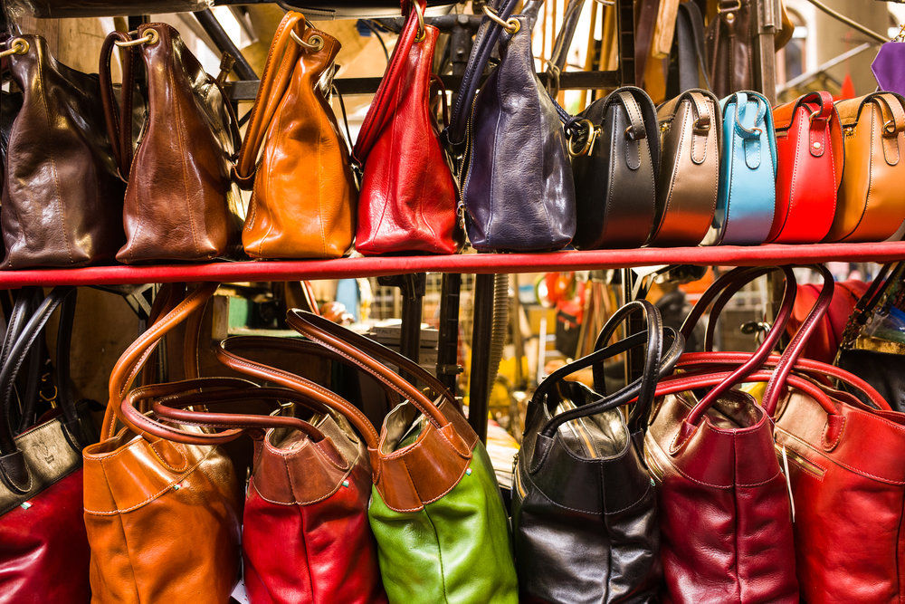 Handbags in a Florence market
