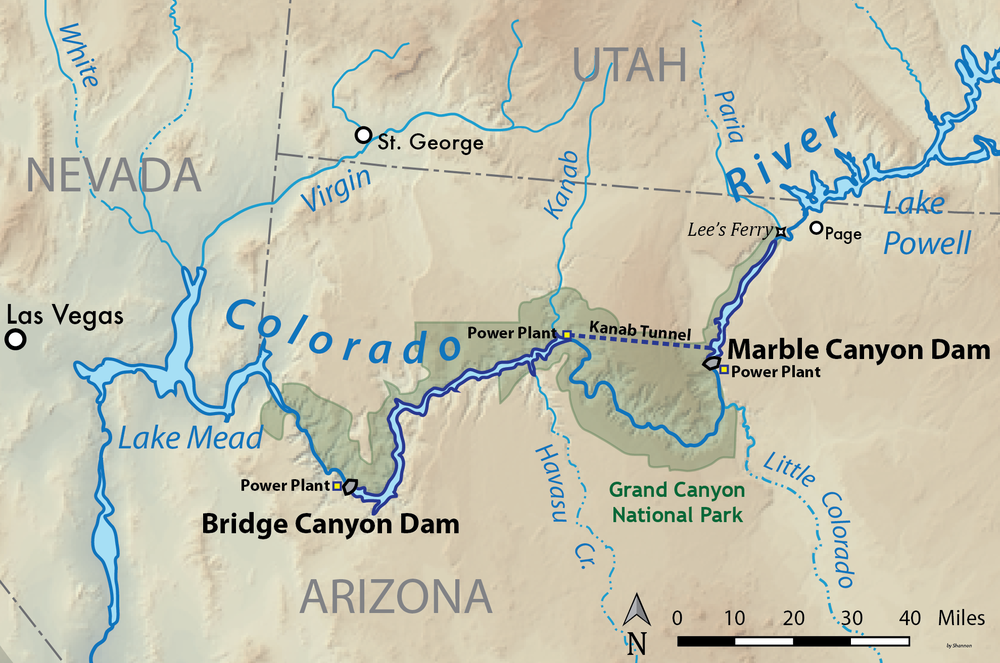 Proposed Bridge Canyon and Marble Canyon Dams on the Grand Canyon.  By  Shannon1 - Own work, CC BY-SA 4.0 ,