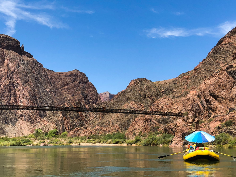 The black suspension bridge at Phantom Ranch
