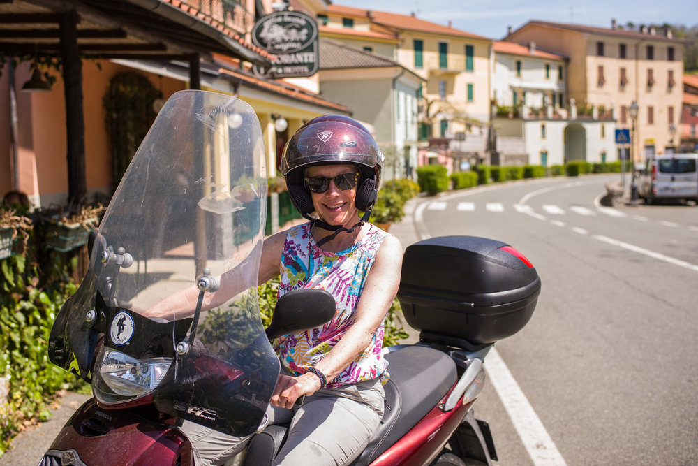 Cruising on a Vespa in the hills above Levanto