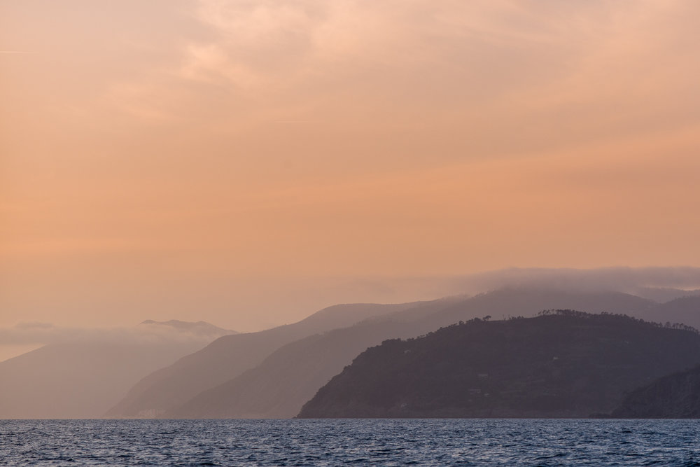 The coastline of Cinque Terre viewed from the sea