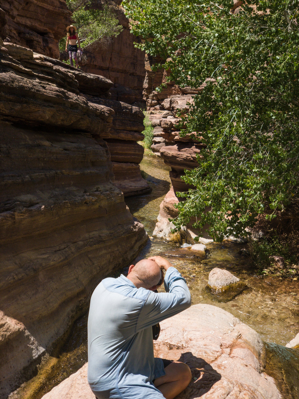 Dave taking a photo of the creek, Mariah on the ledge above. Not photoshopped. The canyon is huge.