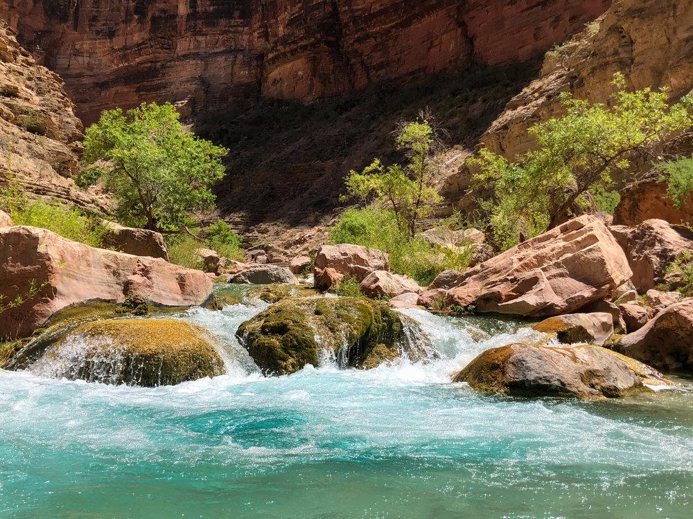 The blue creek water of Havasu