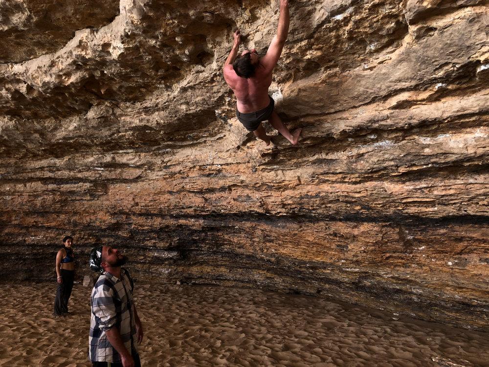 Climbing inside the Redwall Cavern