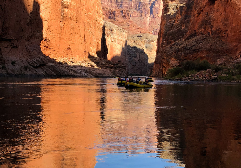 Rafts in the Grand Canyon