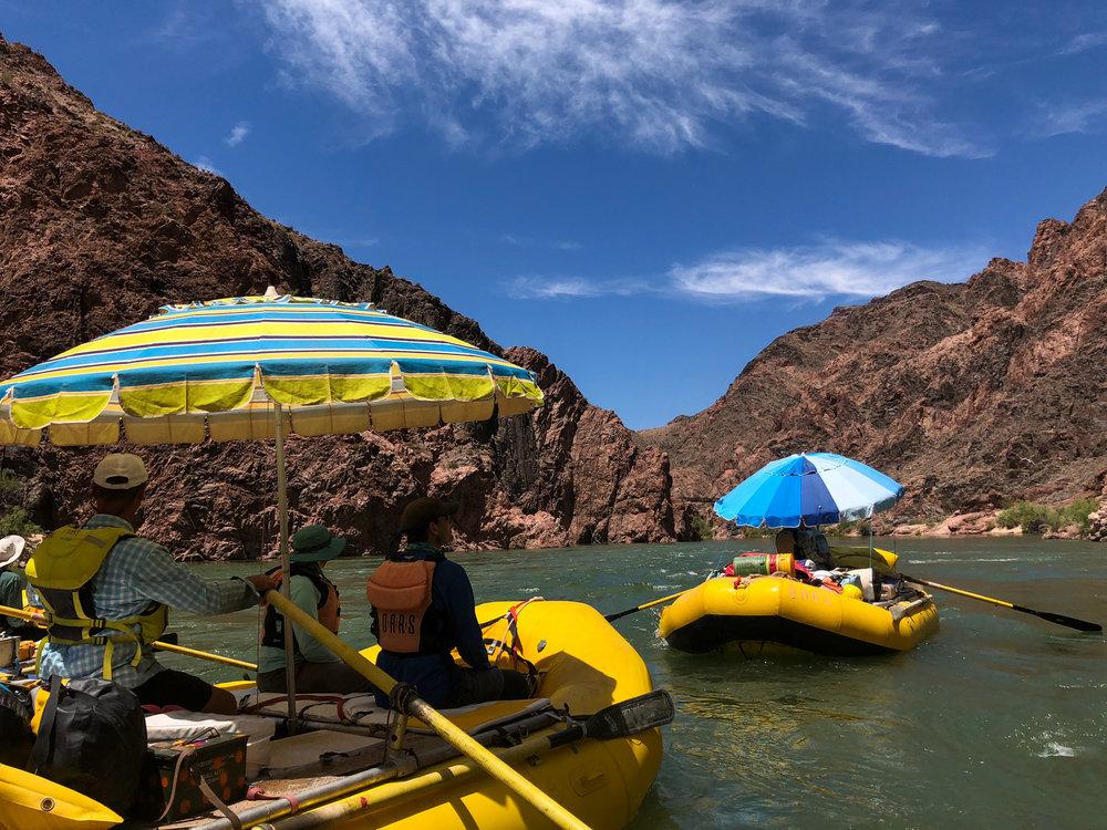 Rafts coming into Phantom Ranch