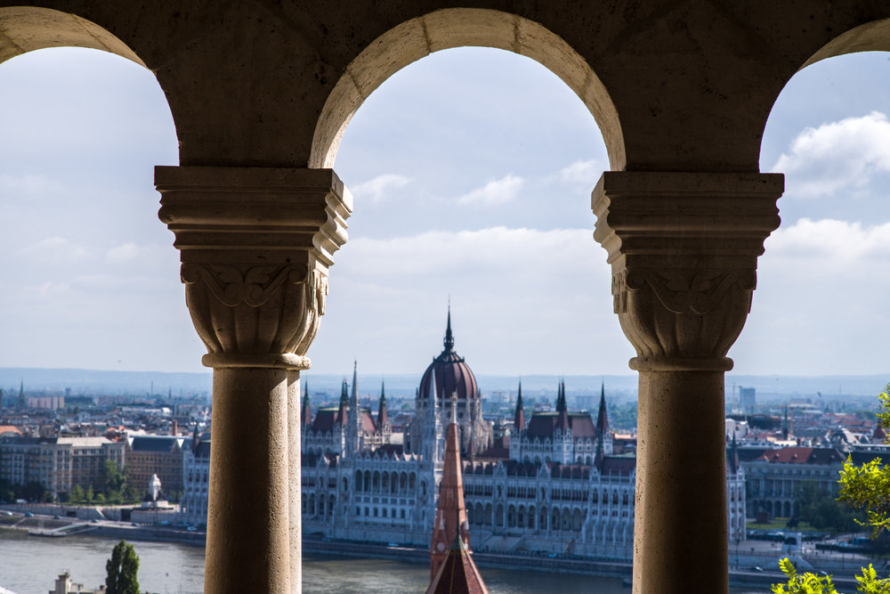 View of the Parliament Building and Danube from the top of Buda Castle Hill