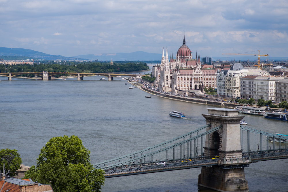 View of the Danube and the Parliament building from Castle Hill