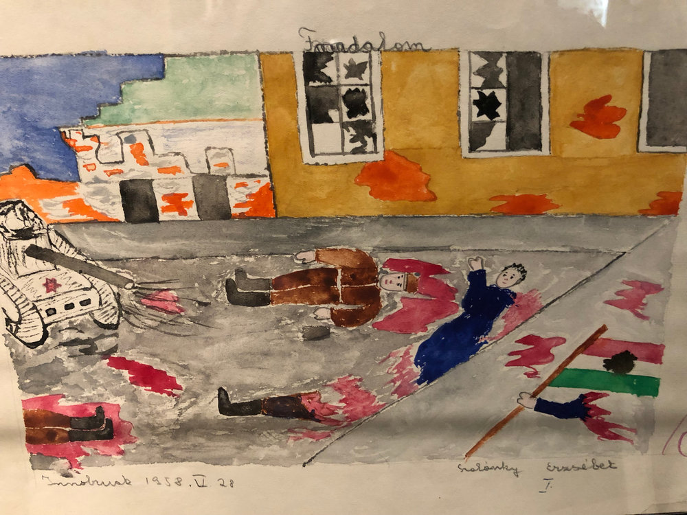 Drawing by a Hungarian refugee student, portraying the bloody events of the Revolution of Budapest against the Soviet Union in 1956 - On display in the Hungarian National Museum