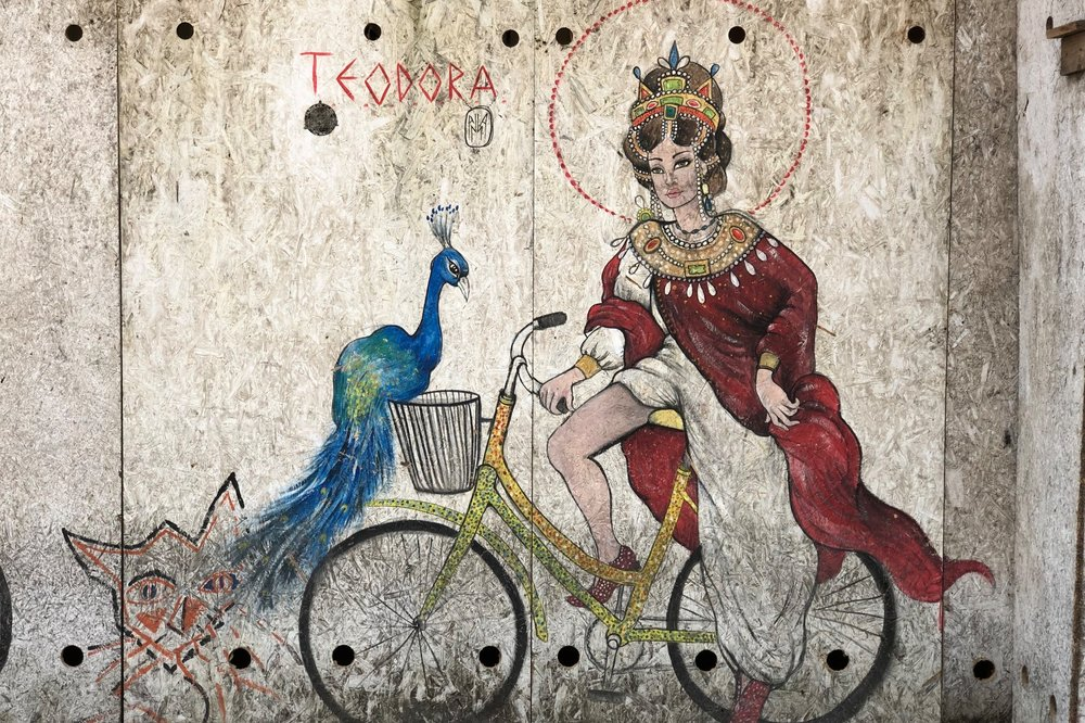 The Empress Theodora on a bike.