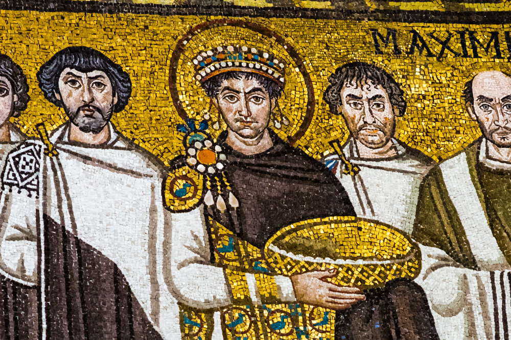 Gaze face to face with the Emperor Justinian in this mosaic of gold and jewels.
