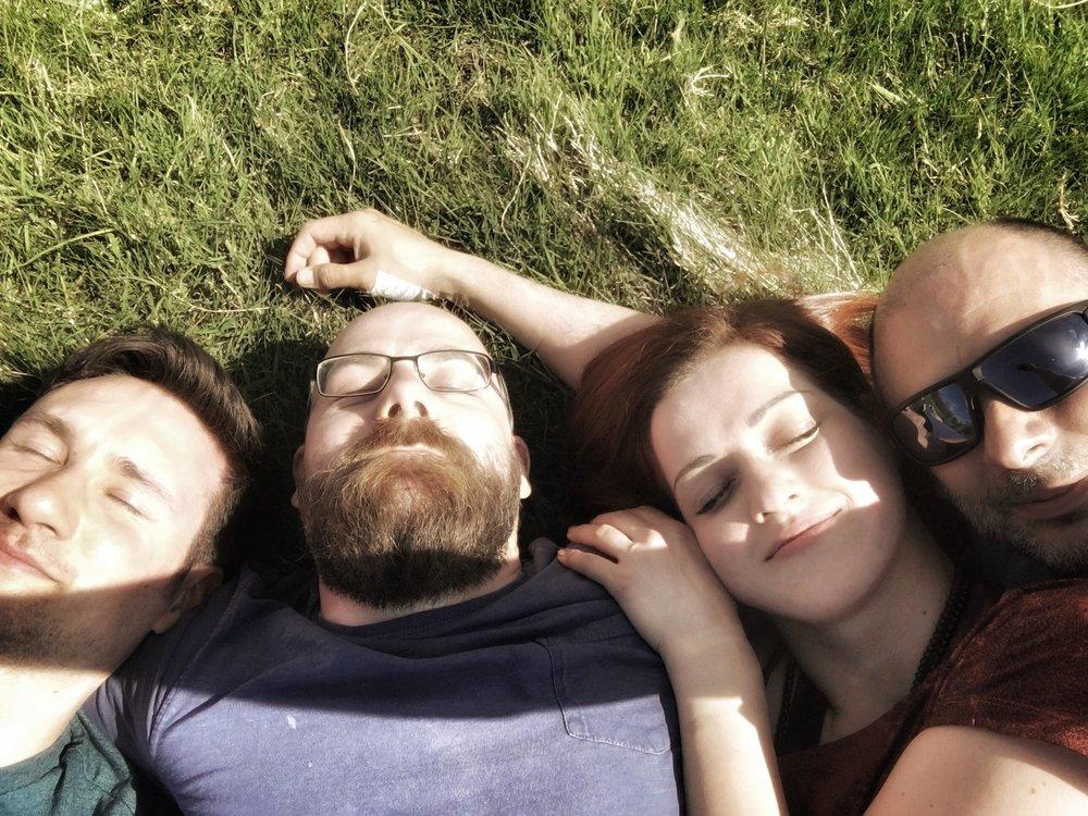 Workshop participants enjoying the sunshine, Burnlaw Retreat Centre May 2018