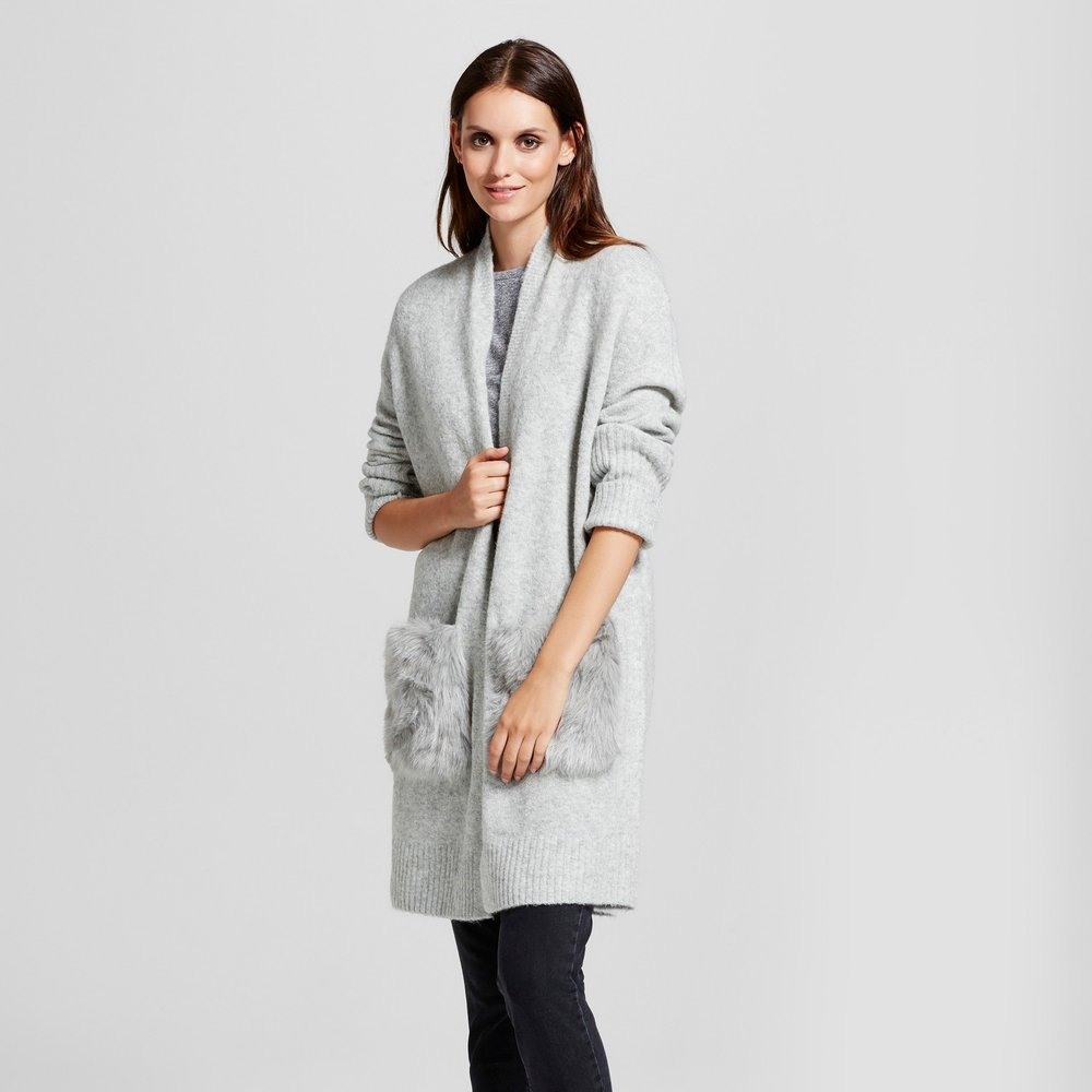 Mossimo Cozy Cardigan with Faux Fur Pockets