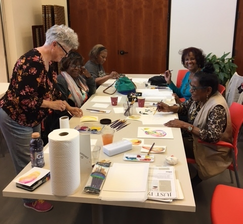 Tesia Blackburn teaches a watercolor class at the George Davis Senior Center, July 2017