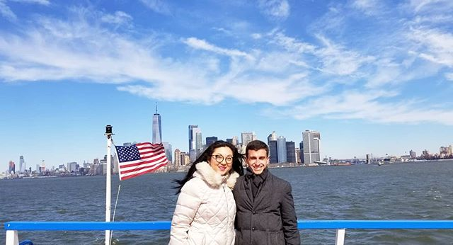 Looking poofy together in our winter coats and wishing we brought sunglasses 😎💙🌻💙. Isn't Manhattan beautiful from the water? I felt an interesting feeling when the taller than life skyscrapers became smaller and smaller as we pulled away from shore. #perspective