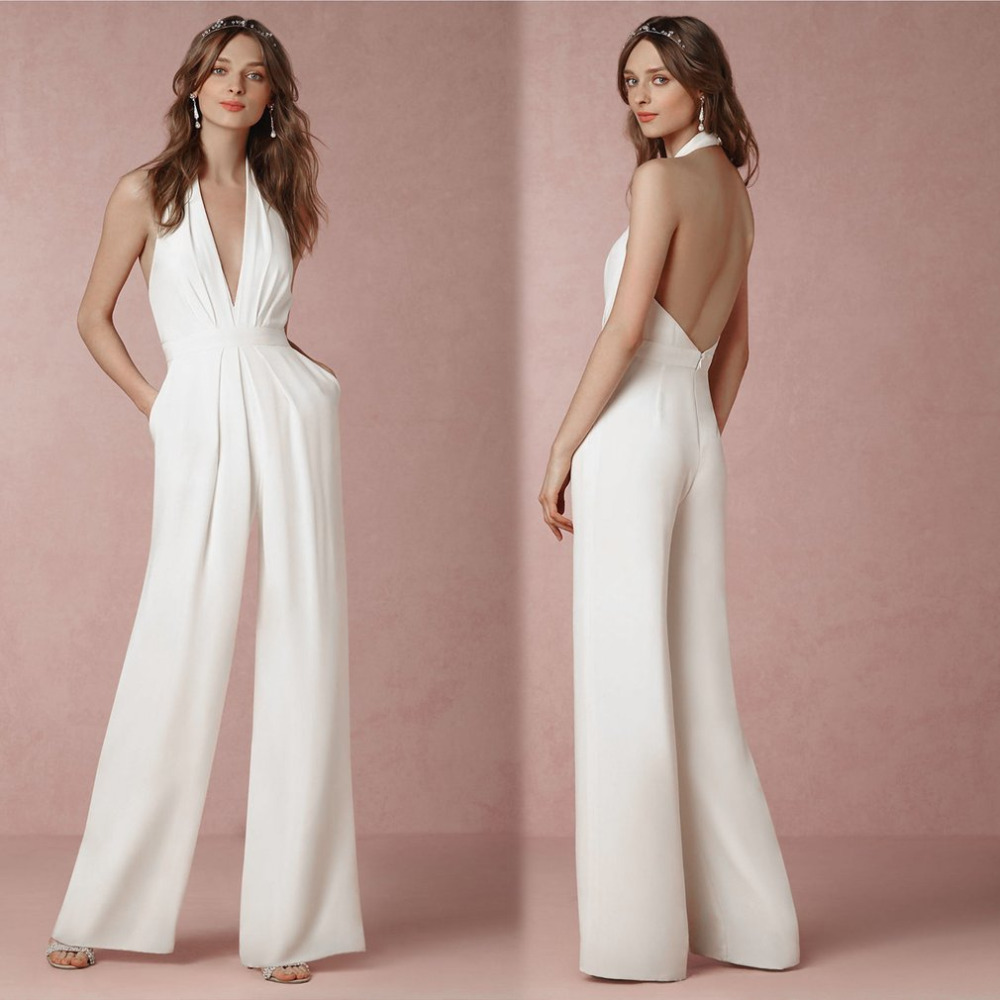 2017 Summer Loose Women Sleeveless Jumpsuits Sexy V-neck Backless Halter Romper Bodycon Lady White Jumpsuits long pant Jumpsuit $11.90