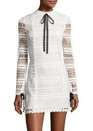 Alexis Braelynn Lace Bow-Neck Mini Dress, White/Black  NOW: $174.00