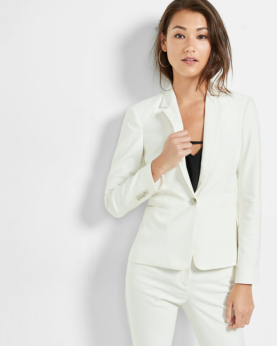 """White Blazer- Similar Here- 24"""" One Button Jacket $128"""