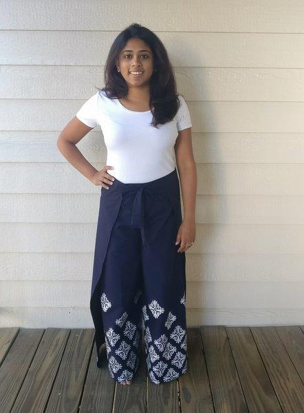 Geometric Navy Blue Cotton Wrap Pants