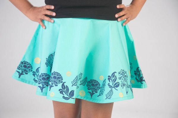 Mint Circle Skirt with Blue and Gold Block Print $70