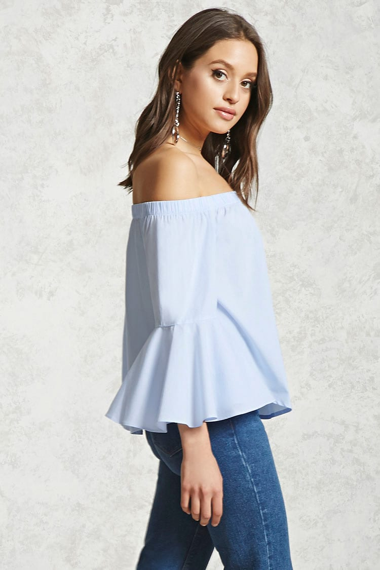 Pinstriped Off-the-Shoulder Top $17.90