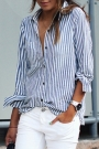 Classic Blue And White Striped Button Down Shirt $18.99