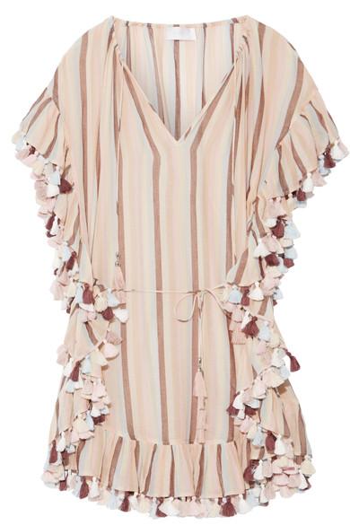 Zimmerman Jasper Tasseled Striped Cotton-voile Mini Dress $590