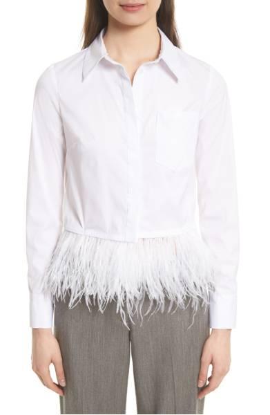 Milly Cross Dye Feather Hem Top $355