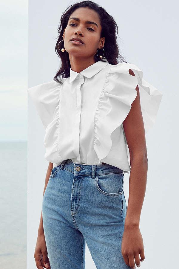 Kimchi Blue Kelsey Ruffle Button-Down Shirt $49