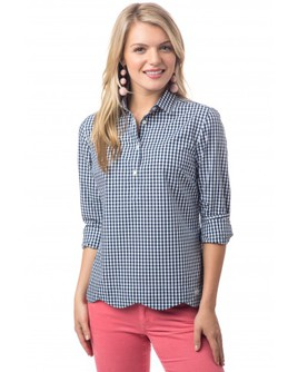 Southern Tide Scalloped Gingham Popover $98